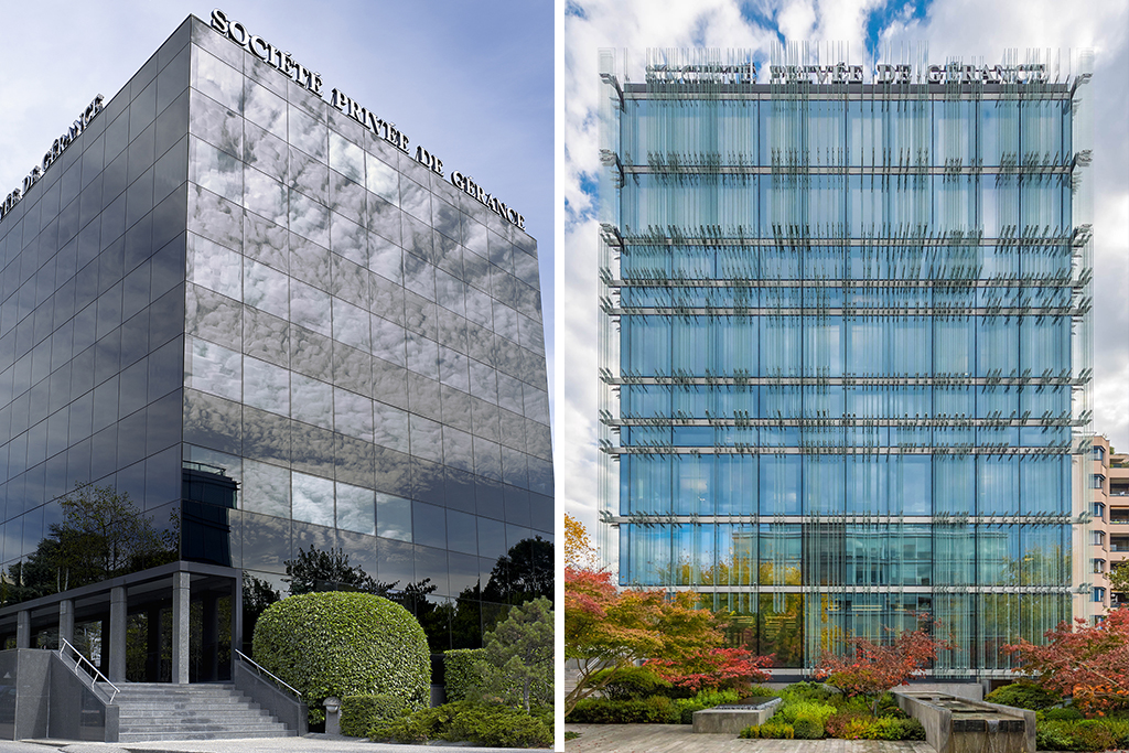 The SPG headquarters in Geneva, in 2012 and today, after renovation